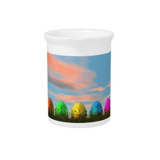 Colorful eggs for easter - 3D render Pitcher