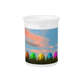 Colorful eggs for easter - 3D render Pitchers
