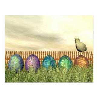 Colorful eggs for easter - 3D render Postcard