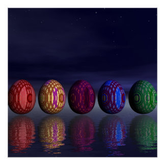 Colorful eggs for easter - 3D render Poster