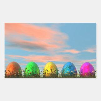 Colorful eggs for easter - 3D render Rectangular Sticker