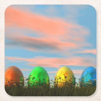 Colorful eggs for easter - 3D render Square Paper Coaster