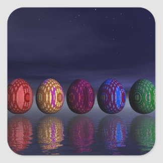 Colorful eggs for easter - 3D render Square Sticker