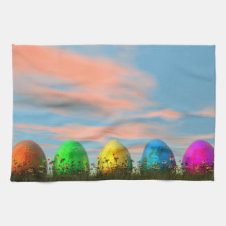 Colorful eggs for easter - 3D render Tea Towel