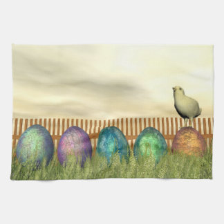 Colorful eggs for easter - 3D render Towels