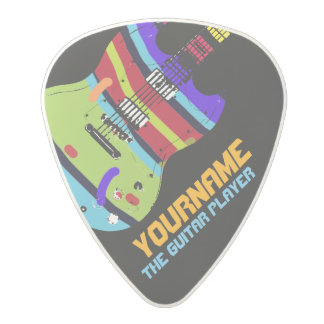 colorful electric-guitar with your name & band, polycarbonate guitar pick