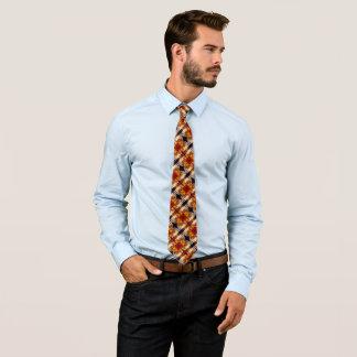 Colorful Electric Orange Cat Silk Foulard Pattern Tie