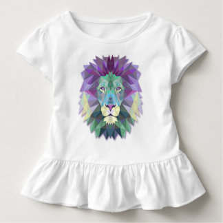 Colorful Elegant Abstract Lion Polygon Ruffle Tee