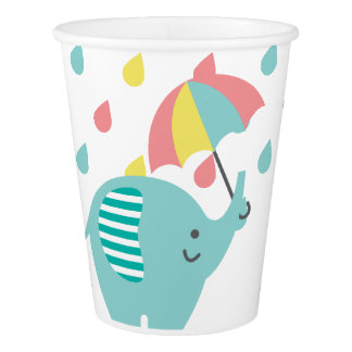 Colorful Elephant Baby Shower Paper Cup