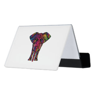 Colorful elephant cartoon desk business card holder
