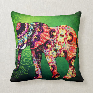 Colorful Elephant Greenery Cushion