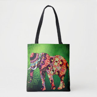 Colorful Elephant Greenery Tote Bag