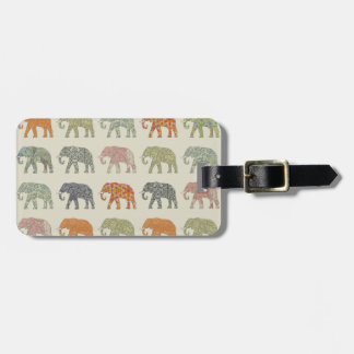 Colorful Elephant Pattern Luggage Tag