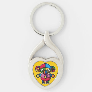 colorful elephant Silver-Colored twisted heart key ring