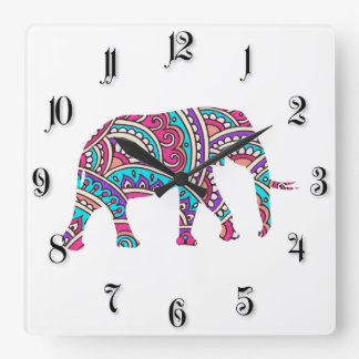 Colorful elephant square wall clock