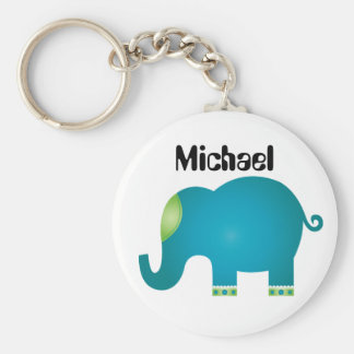 colorful elephants basic round button key ring