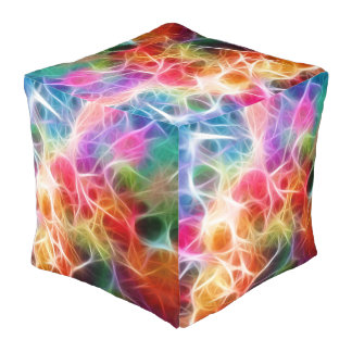 Colorful Energy Pattern Cube Pouf