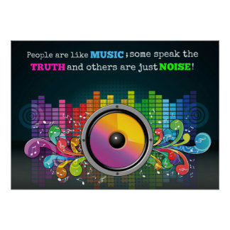 Colorful Equalizer People Are Like Music Quote Poster