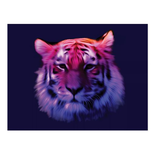 Colorful Ethereal Tiger Post Cards
