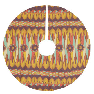 Colorful ethnic pattern brushed polyester tree skirt