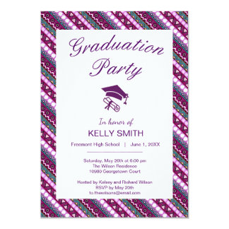 Colorful ethnic patterns design graduation party card