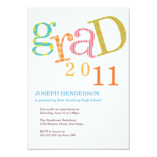 "Colorful excitement graduation class announcement 5"" x 7"" invitation card"