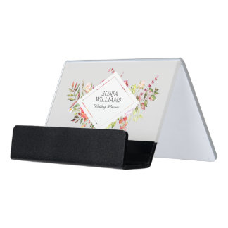 Colorful Exotic Flowers Bouquet Wedding Design Desk Business Card Holder