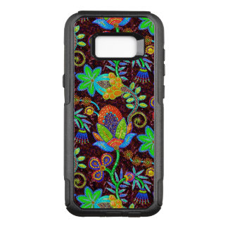 Colorful Exotic Flowers Pattern Glass-Beads Look OtterBox Commuter Samsung Galaxy S8+ Case