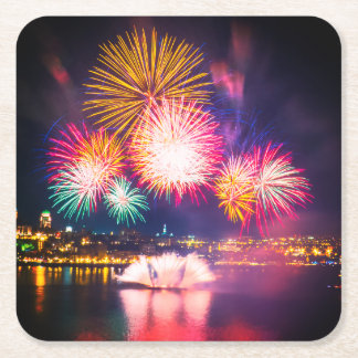Colorful Exploding Fireworks Square Paper Coaster