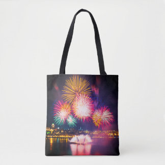 Colorful Explosive Fireworks Tote Bag