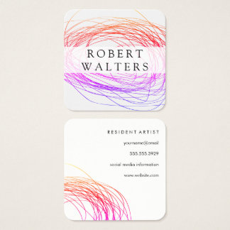 Colorful Expressive Line Work Square Business Card