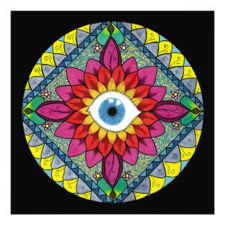 Colorful Eye of Horus Mandala Mosaic Abstract Photographic Print
