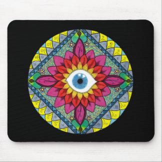 Colorful Eye of Horus Mosaic Mandala Mouse Pad