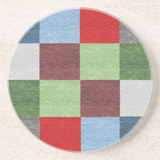 Colorful Fabric Style Squares Pattern Coaster