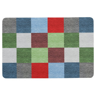 Colorful Fabric Style Squares Pattern Floor Mat