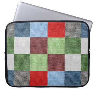 Colorful Fabric Style Squares Pattern Laptop Sleeve