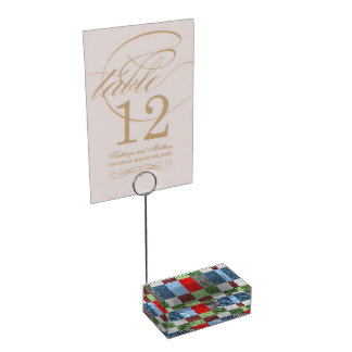Colorful Fabric Style Squares Pattern Place Card Holder