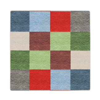Colorful Fabric Style Squares Pattern Wood Coaster