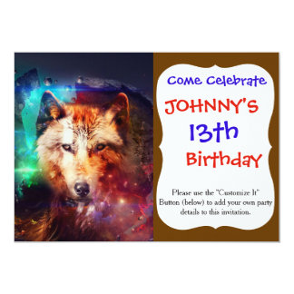 Colorful face wolf 13 cm x 18 cm invitation card