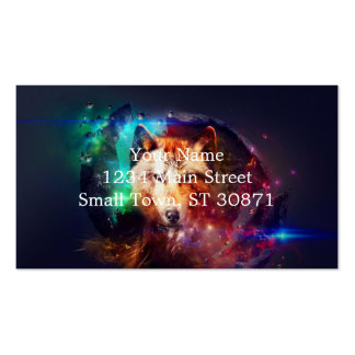 Colorfulface wolf pack of standard business cards