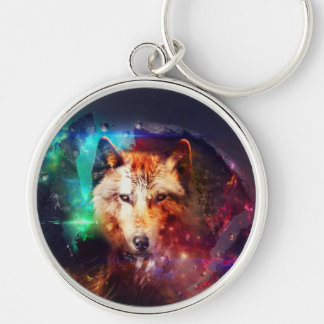 Colorful face wolf Silver-Colored round key ring