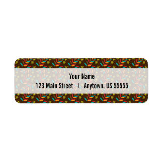 Colorful Fall Leaf Pattern Customizable Return Address Label