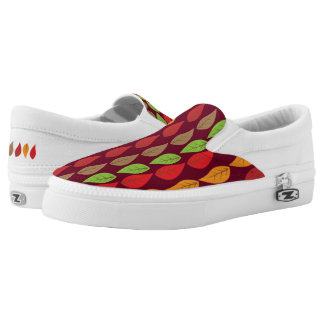 Colorful Fall Leaf Pattern on Dark Red Background Printed Shoes