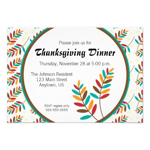 Colorful Fall Leaf Pattern Thanksgiving Dinner Personalized Invites