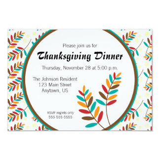 Colorful Fall Leaf Pattern Thanksgiving Dinner 3.5x5 Paper Invitation Card