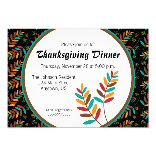 Colorful Fall Leaf Pattern Thanksgiving Dinner Announcements