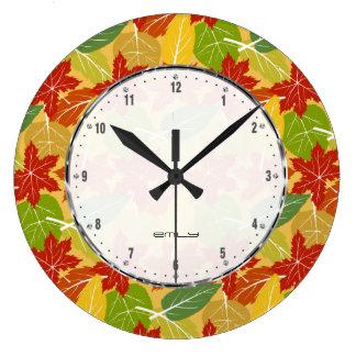 Colorful Fall Leafs Pattern Wallclocks