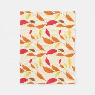 Colorful Fall Leafs Pattern Fleece Blanket