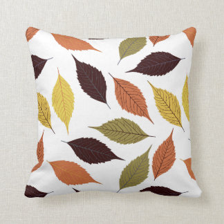 Colorful Fall Leafs White Background Cushions