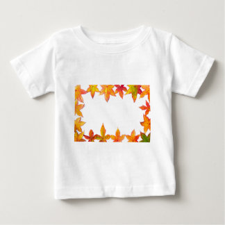 Colorful fall leaves framework on white baby T-Shirt